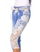 Джинсовые капри с поясом и кружевами (109017) - оригинальная одежда, 2