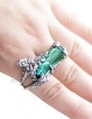 Кольцо на два пальца Зимний сад (ручная работа) (AGR137) - foto
