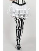 Черно-белые колготки в полоску, 120 ден (904047) - цена, 4