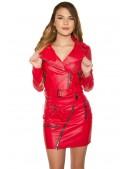 Красная кожаная куртка-косуха KC2029 (112029) - 4, 10
