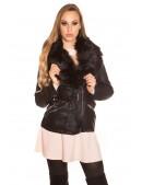 Зимняя кожаная куртка с мехом внутри и на воротнике (112126) - foto