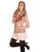Зимняя кожаная куртка с мехом Antique Pink (112127) - 4, 10
