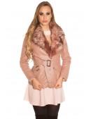 Зимняя кожаная куртка с мехом Antique Pink (112127) - foto