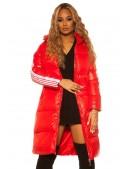 Красная зимняя куртка с лампасами M2142 (112142) - foto