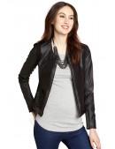 Женская кожаная куртка с кашемировыми вставками (112110) - foto