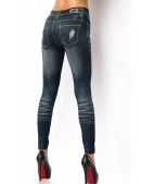 Эластичные серо-синие джеггинсы XC8233 (128233) - оригинальная одежда, 2
