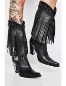 Женские кожаные казаки с бахромой NOMADA ITALI (7906-C1) - цена, 4
