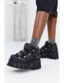 Черные кожаные кроссовки на массивной подошве M106 (M106-S1NEGRO) - foto