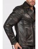 """Мужская куртка из """"состаренной"""" натуральной кожи J012S1 (206107) - оригинальная одежда, 2"""