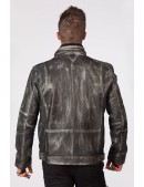 """Серая мужская куртка из натуральной """"состаренной"""" кожи MJ010S1 (206110) - цена, 4"""