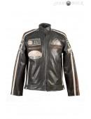Черная мужская мотокуртка из натуральной кожи New Rock (206112) - foto