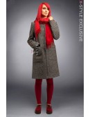 Твидовое пальто оверсайз X4034 (114034) - foto