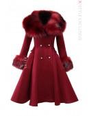 Зимнее шерстяное пальто с мехом X5073 (115073) - foto