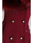 Зимнее шерстяное пальто с мехом X5073 (115073) - цена, 4
