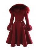 Зимнее шерстяное пальто с мехом X5073 (115073) - оригинальная одежда, 2