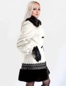 Кашемировое пальто с кружевом и мехом (115010) - оригинальная одежда, 2
