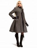 Зимнее твидовое пальто с мехом X5056 (115056) - 3, 8