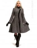 Зимнее твидовое пальто с мехом X5056 (115056) - foto