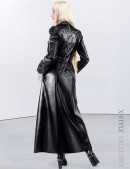 Длинное зимнее пальто с корсетом и вышивкой (115025) - foto