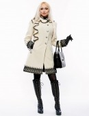 Кашемировое зимнее пальто с кружевом (115031) - цена, 4