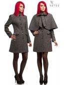 Твидовое пальто с шалью (114036) - foto