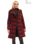 Пальто зимнее женское в клетку X5049 (115049) - foto