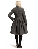 Зимнее твидовое пальто с мехом X5056 (115056) - оригинальная одежда, 2