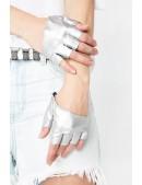 Серебристые перчатки без пальцев XT1177 (601177) - foto