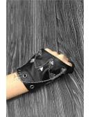 Женские кожаные перчатки без пальцев с цепями и клепками X1186 (601186) - цена, 4