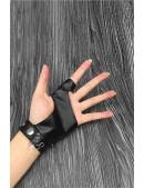 Женские кожаные перчатки без пальцев с цепями и клепками X1186 (601186) - материал, 6