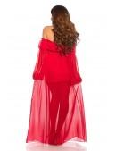 Длинное красное платье с открытыми плечами KC5512 (105512) - материал, 6