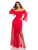 Длинное красное платье с открытыми плечами KC5512 (105512) - цена, 4