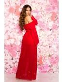 Длинное красное платье с открытыми плечами KC5512 (105512) - оригинальная одежда, 2