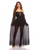 Длинное черное летнее платье KC5513 (105513) - 3, 8