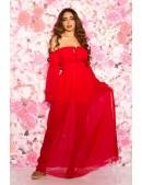 Длинное красное платье с открытыми плечами KC5512 (105512) - foto
