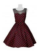 Платье в красный в горошек с сеточкой B5515 (105515) - 3, 8