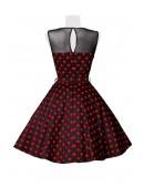 Платье в красный в горошек с сеточкой B5515 (105515) - 4, 10