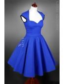 Винтажное платье с декольте и поясом (105050) - foto