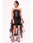 Кожаное платье со шлейфом X5454 (105454) - foto