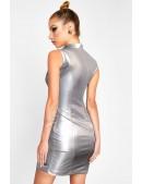 """Серебристое платье с эффектом """"металлик"""" X456 (105456) - цена, 4"""