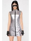 """Серебристое платье с эффектом """"металлик"""" X456 (105456) - foto"""