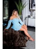 """""""Воздушное"""" платье BABYDOLL бирюзового цвета (105504) - цена, 4"""