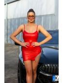 Красное мини-платье с металлической бахромой KC7178 (127178) - материал, 6