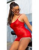 Красное мини-платье с металлической бахромой KC7178 (127178) - foto
