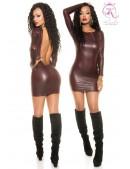 Бордовое платье под кожу KouCla (127158) - foto