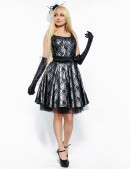 Винтажное платье с подъюбником, перчатками и поясом (105150) - оригинальная одежда, 2