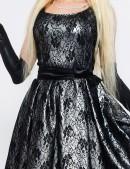 Винтажное платье с подъюбником, перчатками и поясом (105150) - материал, 6