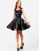 Лаковое платье с ремешками на спине (105099) - foto