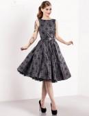 Винтажное платье из узорчатой ткани (105260) - foto