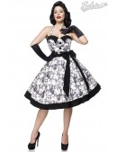 Ретро платье с контрастными деталями и поясом (105263) - foto